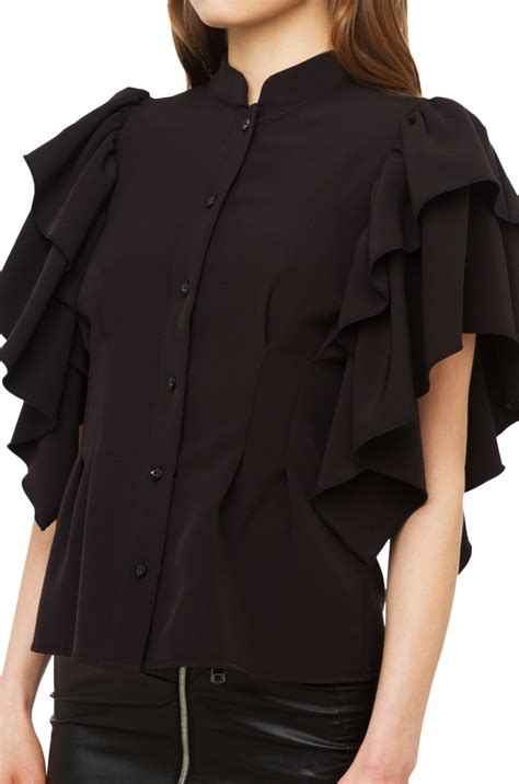 Jaqueer Ruffle Blouse Be2841 01 Black Blouse lyst gracia ruffle sleeve top in black