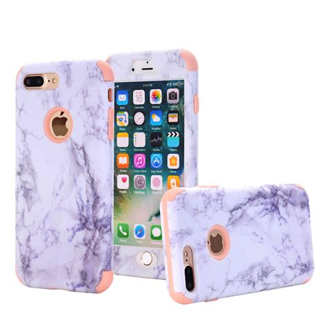Iphone 8 Plus Marble Mint Blue Hardcase Hybrid Rugged Granite Marble Protective Cover