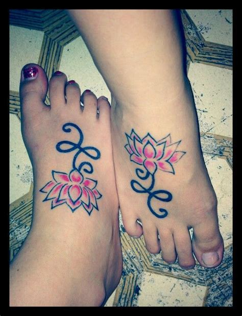 flower sister tattoos matching lotus flower tattoos with my tattoos