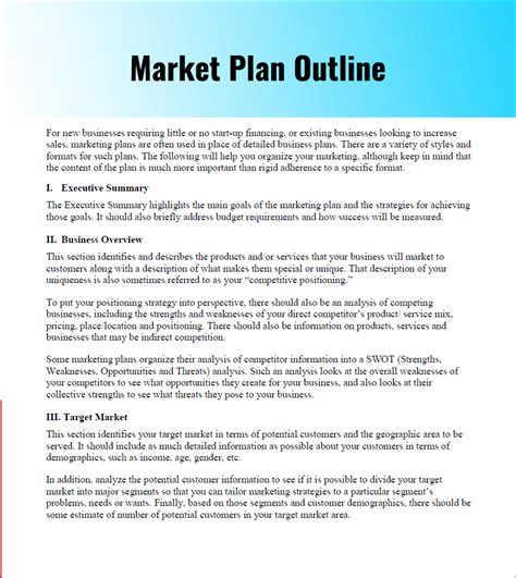 Marketing Plan Outline marketing strategy planning template pdf word documents creative template