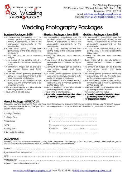 wedding photography prices uk wedding photography booking form and contract 2014