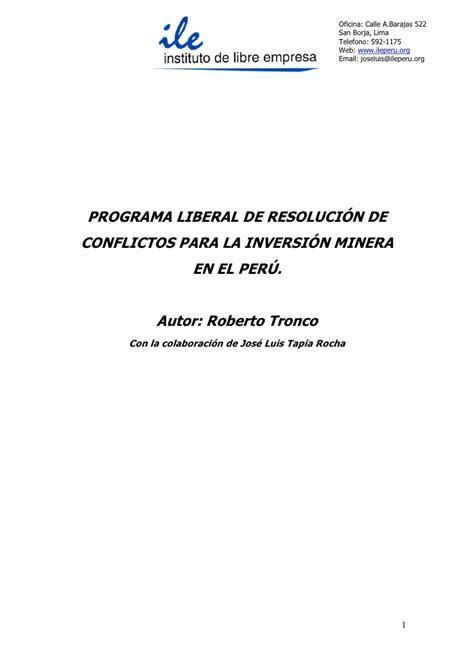oficina correos barajas programa liberal de resolucion de conflictos en mineria