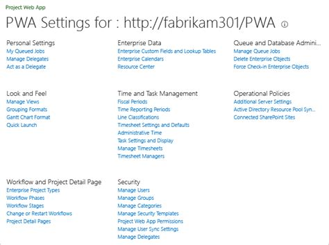 project server 2013 pwa settings assign permissions to support tfs project server