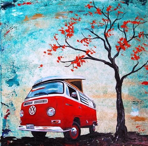 1970 Red Volkswagen Cer Bus Painting By Sheri Wiseman