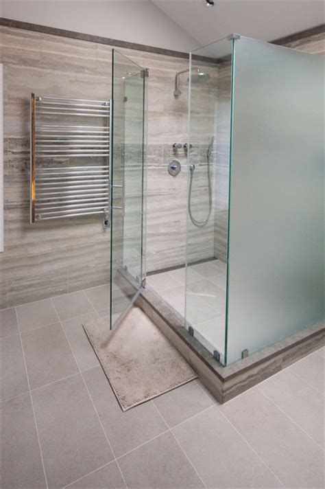 Privacy Glass Shower Doors Glass Shower Enclosures Traditional Bathroom New York By Glassworks Of Summit