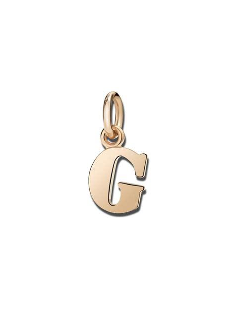lettere pomellato dodo ciondolo lettera g grande in oro rosa lattuca gioielli