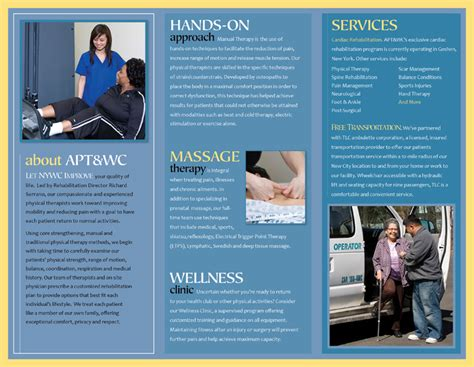 Design Portfolio Exles Of Print And Digital Services On Medical Health Care Business Card Physical Therapy Brochure Templates