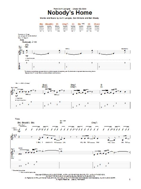nobody s home by avril lavigne guitar tab guitar