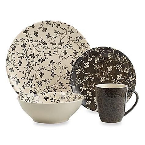 Bed Bath And Beyond Dinnerware Sets Buy Sango Fresh Flowers Black 16 Dinnerware Set From Bed Bath Beyond