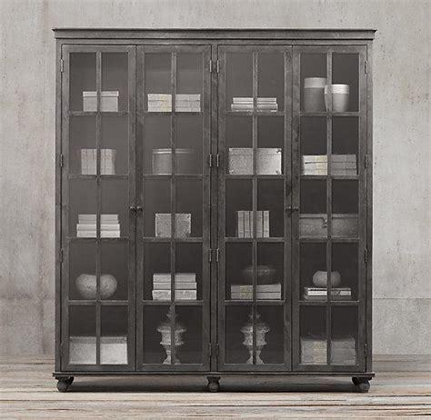 Restoration Hardware Cabinet by Zinc Glass 4 Door Cabinet I Restoration Hardware