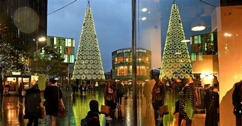 real christmas trees liverpool liverpool one shoppers treated to yellow glow ahead of children in need liverpool echo