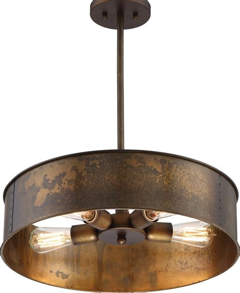 Drum Lights For Kitchen Kettle Weathered Brass Drum Pendant Light 20 Quot Wx41 Quot H