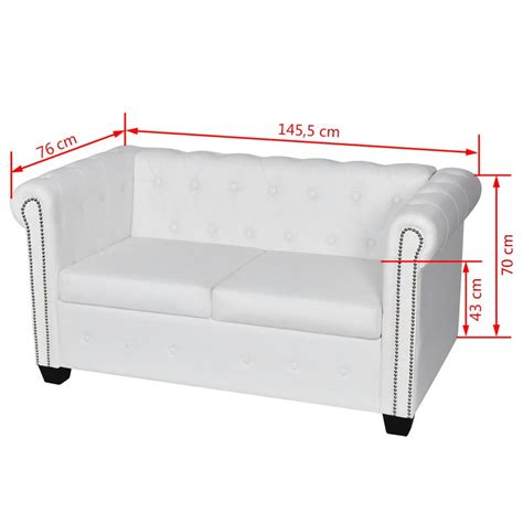 divano bianco vidaxl divano chesterfield bianco a 2 posti vidaxl it
