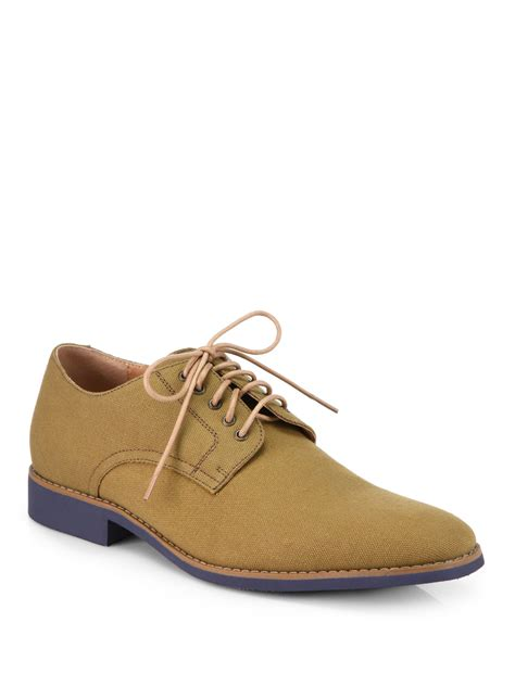 jd fisk vincent canvas laceup shoes in khaki for