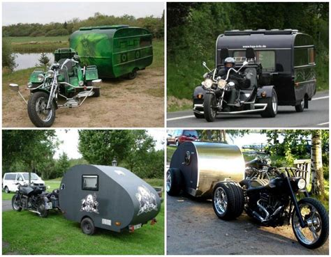 Motorrad Wohnwagen by Motorcycle Cing Trailers Of A Tarp And A Full