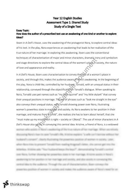 a doll house full text pdf single text essay a doll s house year 12 sace english thinkswap
