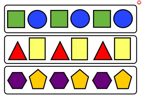 Shape Pattern Eyfs | 2d shape pattern worksheets ks1 repeating pattern