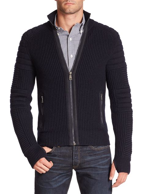Cardigan Polos Polo Ralph Merino Ottoman Cardigan In Blue For