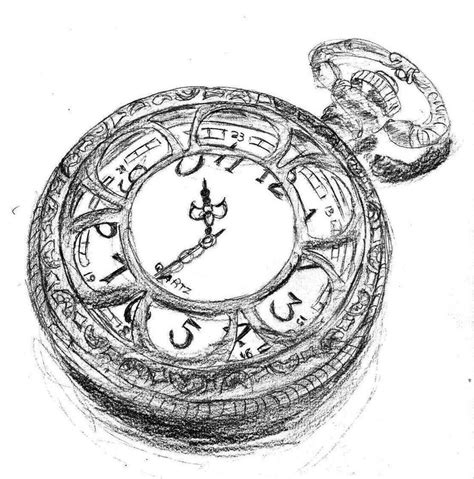 cracked pocket watch tattoo design fob by sketch coloring page