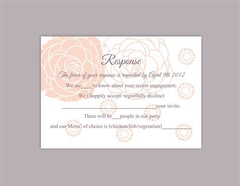Response Cards For Wedding Template by Diy Wedding Rsvp Template Editable Word File Instant