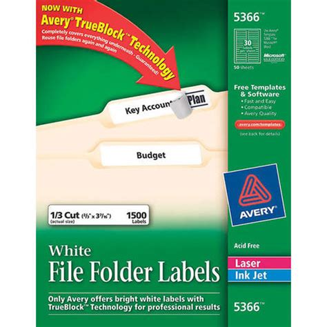 avery templates 5366 labels avery 5366 white file folder labels with trueblock