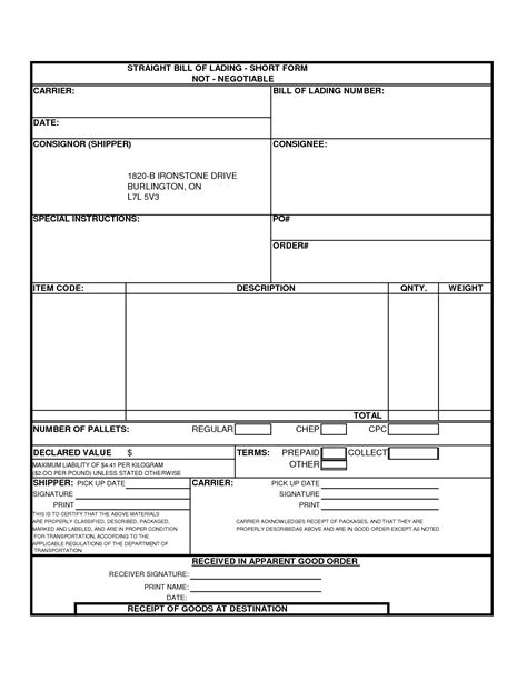 Bill Of Lading Template E Commercewordpress Free Bol Template