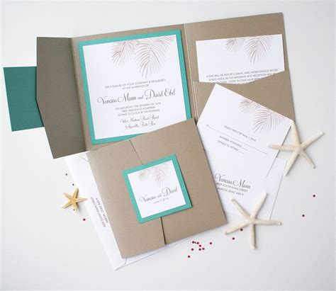 custom folder wedding invitations palm tree fronds folder invitation suite custom watercolor invitations unique handmade