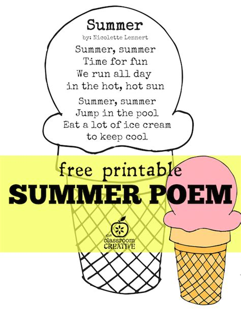 themes of the facebook sonnet summer poem free printable end of the school year crafts