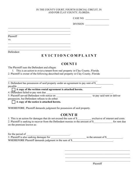 Free Florida Eviction Complaint Pdf Template Form Download Eviction Template Florida