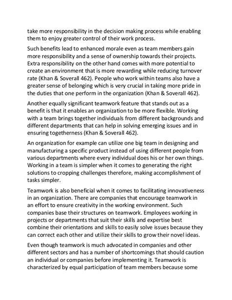 Teamwork Essay Exles by Understanding Teamwork Sle Essay