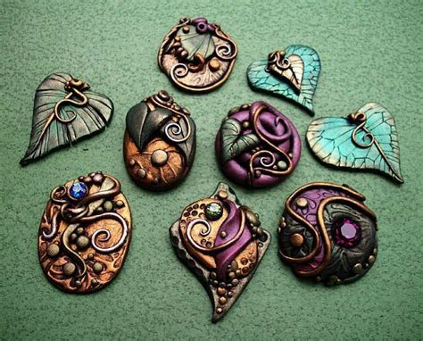 clay to make jewelry polymer clay cabochons with metallic lustre texture and