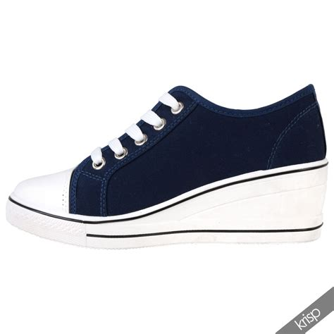 up sneakers womens gem canvas high heel wedge trainers sneakers low