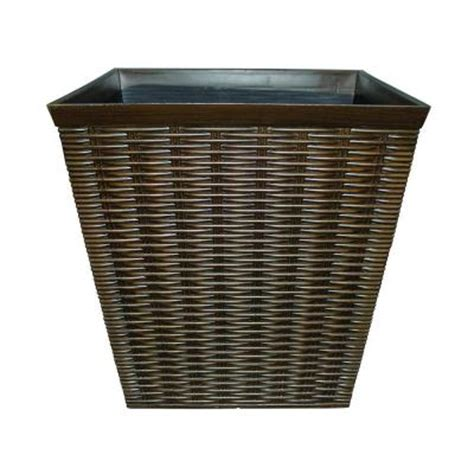 Square Planters Resin by Southern Patio 12 In Dia Square Wicker Look Resin Planter