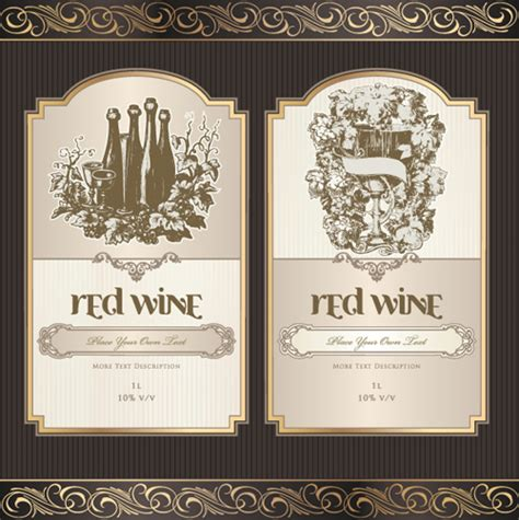 wine label templates free vintage elements of wine labels vector material 01