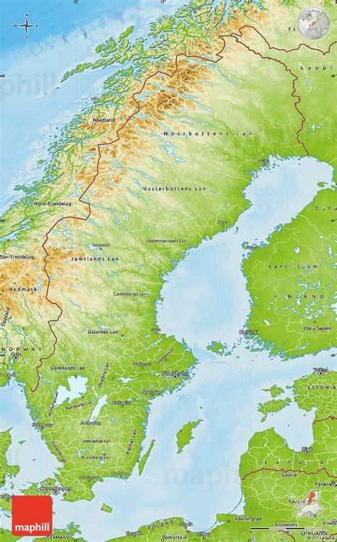 physical map of sweden physical map of sweden