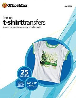 laser printer iron on transfer paper office max iron on t shirt transfer paper 8 5x11 royal brites om98000