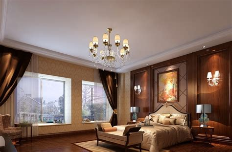 interior design bedroom wallpaper villa interior design bedroom bed droplight and background wall