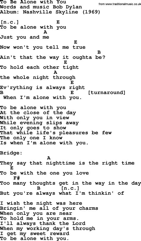 with lyrics bob song to be alone with you lyrics and chords