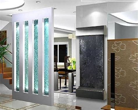 indoor glass waterfall design as element of decoration