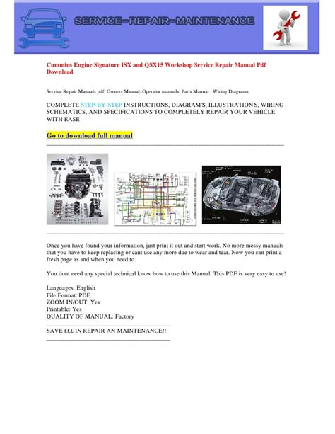 service manual small engine repair manuals free download cummins signature isx qsx15 engine manual pdf download