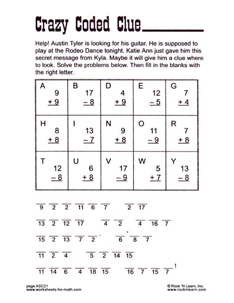 The Code Worksheets by Math Code Worksheets Rringband