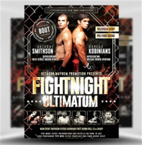 free boxing fight card template mma boxing flyer templates for photoshop flyerheroes