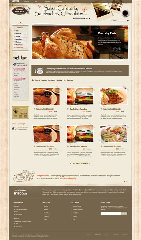 hyec cafe restaurant joomla template by templaza
