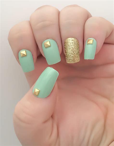 Artificial Nail by Mint Nail Set Studded False Nails Glitter Acrylic