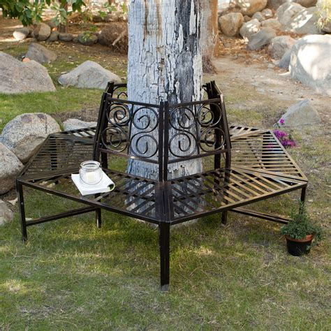 around tree bench coral coast scrollback metal tree surround bench outdoor