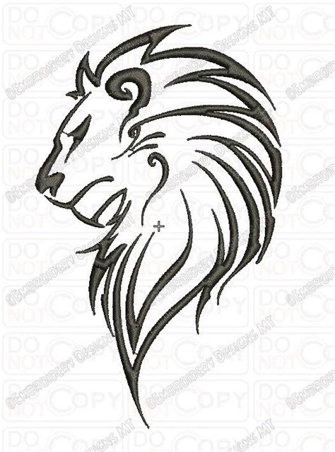 lion outline tattoo outline tribal embroidery design in 3x3 4x4 and 5x7