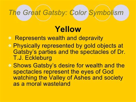 color symbolism great gatsby quotes yellow color imagery impremedia net