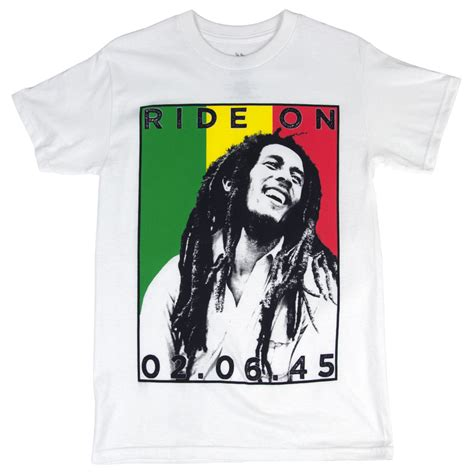 Bob Tshirt Mens bob marley ride on rasta stripes white t shirt s