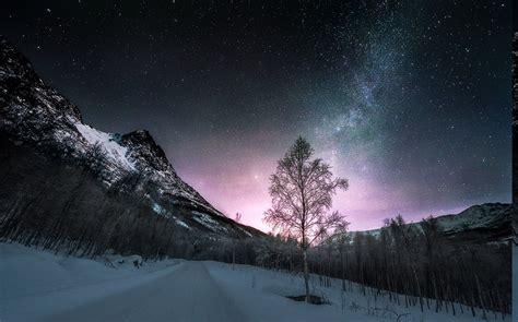 nature landscape long exposure winter road norway