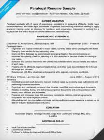 Sample Paralegal Resume paralegal resume sample amp writing tips resume companion